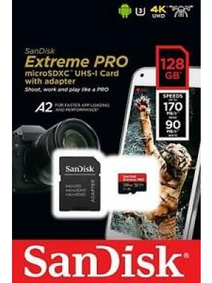 SanDisk SDXC 128GB Micro Extreme Pro 170MB/s A2 +SD Adap.