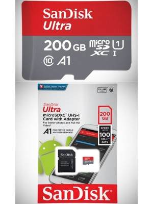 SanDisk SDXC 200GB Ultra Android Mic.100MB/s A1Class10 UHS-I +Adap.